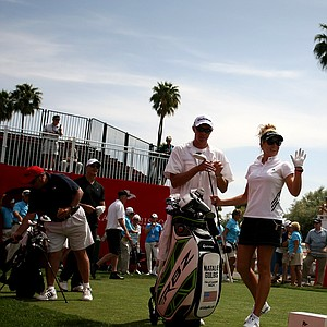 Natalie Gulbis waves to the crowd at the first tee on Wednesday at the Kraft Nabisco Championship.