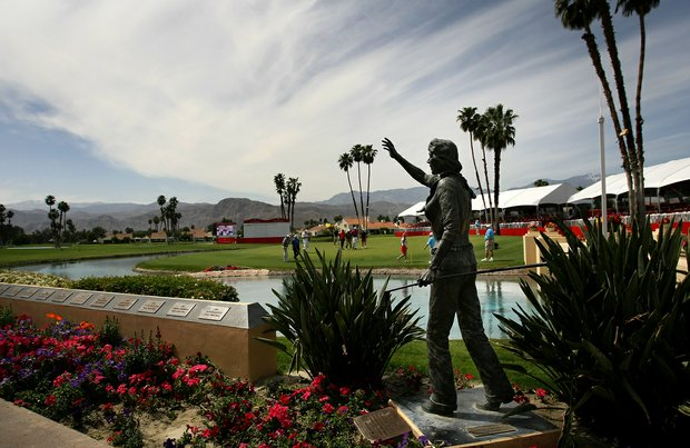View of the 18th green on Wednesday at the 2012 Kraft Nabisco Championship.