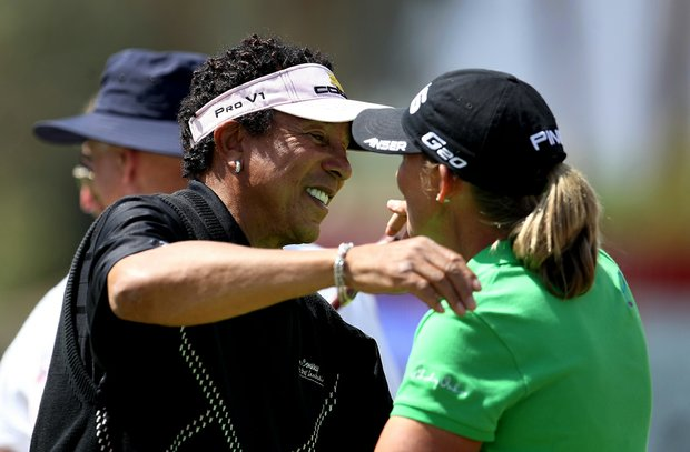 Smokey Robinson was paired with Angela Stanford for the pro-am on Wednesday at the Kraft Nabisco Championship.