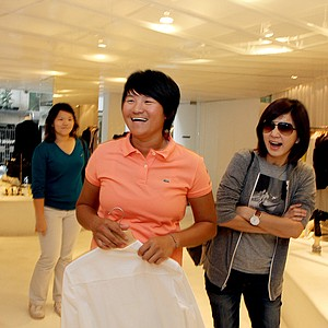 Yani Tseng shares a laugh with Ella Chen of the singing group S.H.E while spending time at one of her favorite stores stephane dou changlee yugin a fashion boutique in Taiwan.