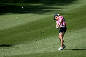 Morgan Pressel hits her second shot at No. 9 on Thursday at the Kraft Nabisco Championship.