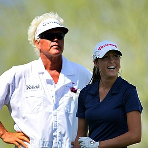 Amateur Jaye Marie Green with her father/caddie, Donnie Green on Thursday at the Kraft Nabisco Championship. Green posted a 71.