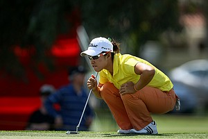 Haeji Kang of South Korea lines up her putt at No. 9 Thursday at the Kraft Nabisco Championship. She posted a 69.