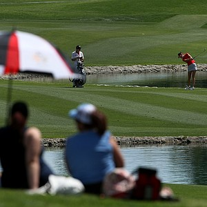 Sandra Gal hits from the fairway at No. 6 on Thursday at the Kraft Nabisco Championship.
