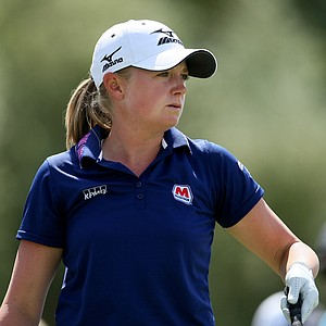Defending champion Stacy Lewis on Thursday at the Kraft Nabisco Championship.