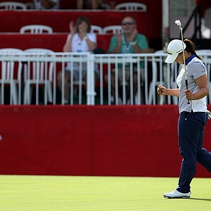 Amy Yang makes her putt at No. 18 carding a 66 onThursday at the Kraft Nabisco Championship.