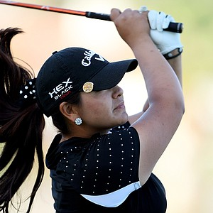 Former University of Souther California golfer, Lizette Salas at No. 18 on Friday at the Kraft Nabisco Championship.