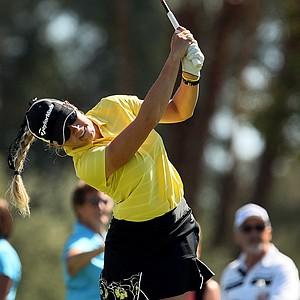 Natalie Gulbis hits her tee shot at No. 3 on Friday at the Kraft Nabisco Championship.