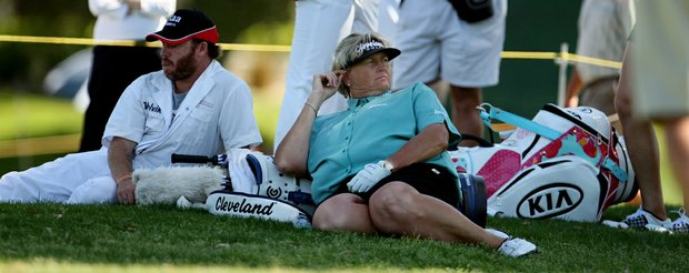 Laura Davies relaxes as she waits to hit her tee shot at No. 4, a par-3,  on Friday at the Kraft Nabisco Championship.