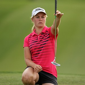 Charley Hull lines up her putt at No. 9 on Friday at the Kraft Nabisco Championship.