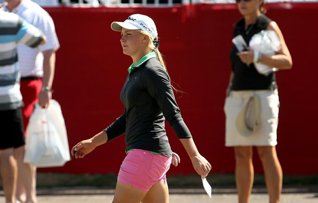 Amateur Charley Hull posted a 68 on Saturday at the Kraft Nabisco Championship.