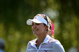 Lexi Thompson  is all smiles after 5 birdies on the front nine on Saturday at the Kraft Nabisco Championship.