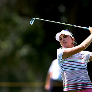 Lexi Thompson on Saturday at the Kraft Nabisco Championship. She made the turn with 5 birdies carded.