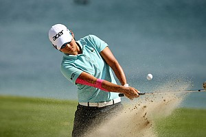 Yani Tseng hits out of the bunker at No. 6 on Saturday at the Kraft Nabisco Championship.