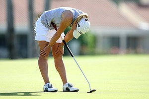 Jodi Ewart misses her putt at No. 18 on Saturday at the Kraft Nabisco Championship.