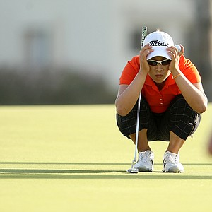 Haeji Kang lines up her putt at No. 18 on Saturday at the Kraft Nabisco Championship. Kang is in third place entering Sunday's final round.