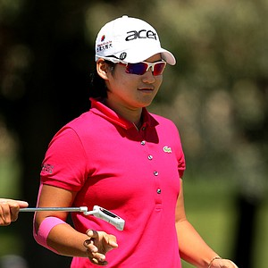 Yani Tseng makes bogey on the first hole of the final round of the Kraft Nabisco Championship.