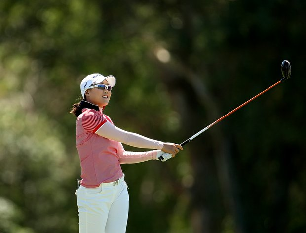 Hee Kyung Seo watches her ball at No. 6 on final round of the Kraft Nabisco Championship.