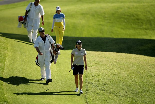 Sun Young Yoo walks down the fairway at No. 17 during the final round of the Kraft Nabisco Championship.