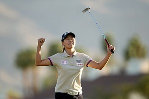 Sun Young Yoo celebrates after sinking her putt in a playoff during the final round of the Kraft Nabisco Championship.