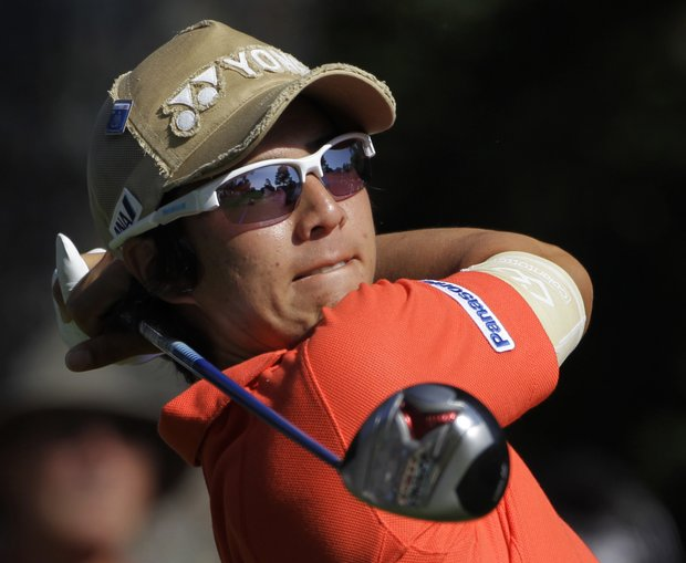 Ryo Ishikawa, of Japan, tees off on the ninth hole during a practice round for the Masters.