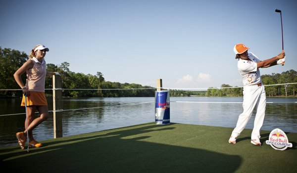 Playing from the middle of Lake Olmstead in Augusta, Ga., LPGA star Lexi Thompson and PGA Tour star Rickie Fowler took aim at a skee-ball target from 150 yards. The two stars were showcasing the Red Bull Off Course as part of Masters Week.