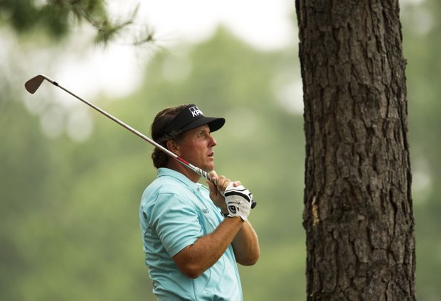 Phil Mickelson of the US on the 9th fairway during a practice round before the 2012 Masters Golf Tournament at Augusta National.