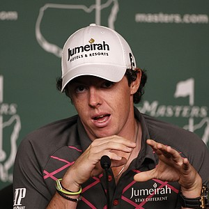 Rory McIlroy, of Northern Ireland, speaks during a press conference before his practice round for the Masters.