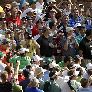 Tiger Woods tees off on the 17th hole during a practice round for the Masters on Wednesday.