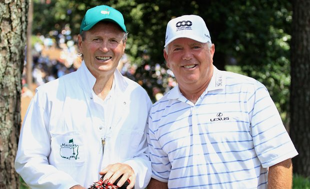Mark O'Meara (right) with caddie Paul Henderson at Augusta National.
