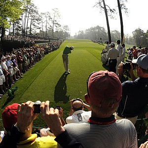 Tiger Woods tees off during a Masters practice round.