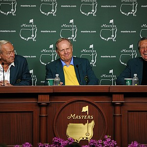 Honorary starters Arnold Palmer, Jack Nicklaus and Gary Player of South Africa hold a press conference after they tee off at Augusta National.
