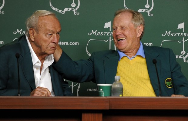 Honorary starters Arnold Palmer, Jack Nicklaus hold a press conference after they tee off at Augusta National.