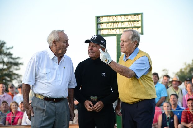 Honorary starters Arnold Palmer (L) of the US, Gary Player (C) of South Africa and Jack Nicklaus of the US pose after teeing off at Augusta National.