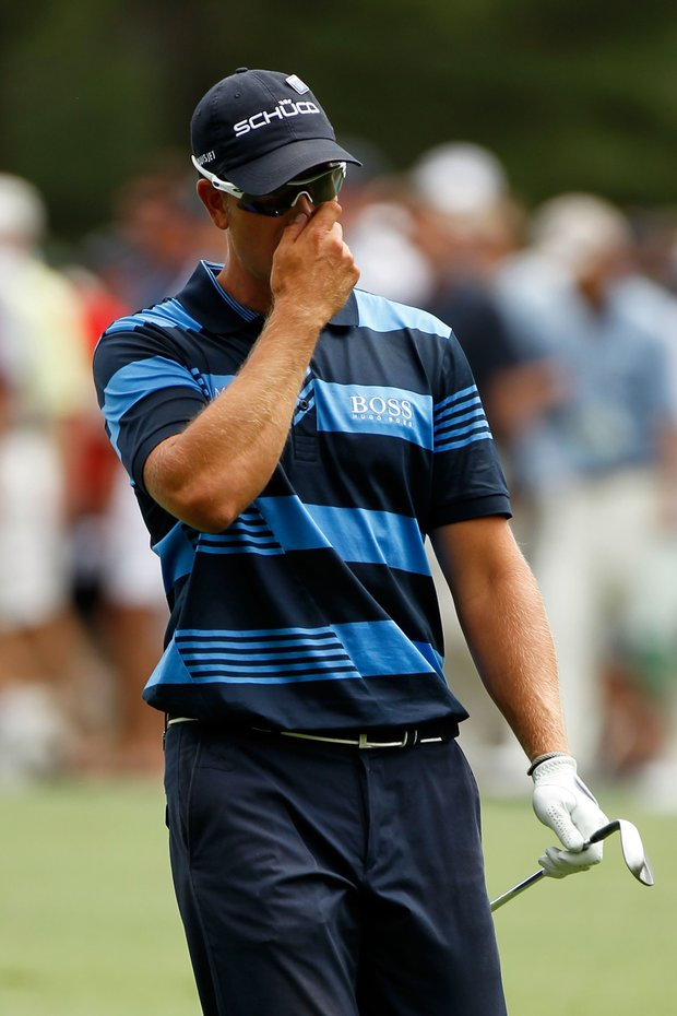 Henrik Stenson of Sweden looks on from the 15th hole during the first round of the 2012 Masters Tournament at Augusta National.