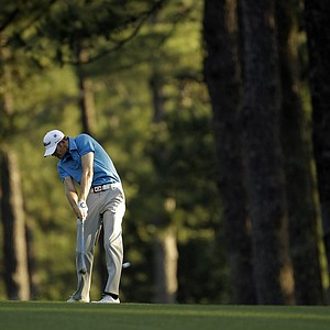 Brendan Steele hits on the second fairway during the first round of the Masters.