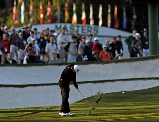 Tiger Woods hits on the 18th fairway during the second round of the Masters.