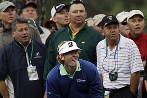 Brandt Snedeker checks on his shot off the first fairway during the second round the Masters.