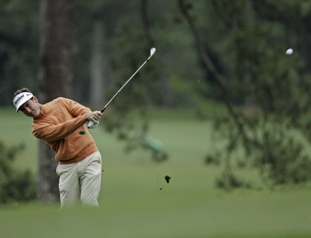 Gonzalo Fernandez-Castano, of Spain, hits off the first fairway during the second round the Masters.