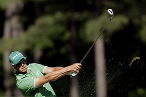 Henrik Stenson, of Sweden, hits on the 12th fairway during the second round of the Masters.