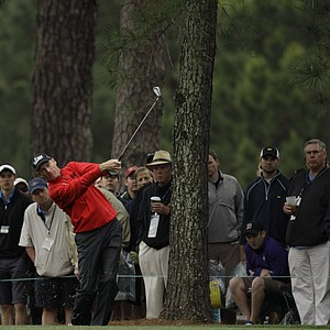 Jim Furyk hits off the first fairway during the second round the Masters.