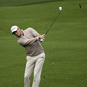 Martin Kaymer, of Germany, hits from the third fairway to the second green during the second round the Masters.