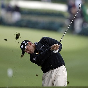 Lee Westwood, of England, hits off the first fairway during the second round the Masters.