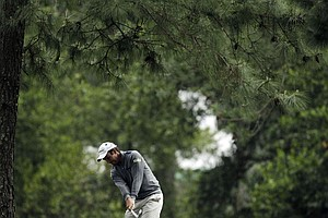 Edoardo Molinari, of Italy, during the second round the Masters.