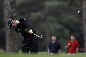 Sean O'Hair hits off the first fairway during the second round the Masters.