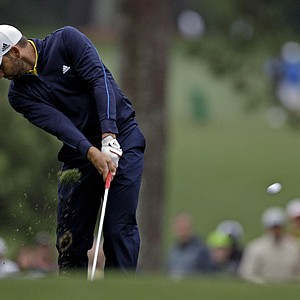 Sergio Garcia, of Spain, hits off the first fairway during the second round the Masters.