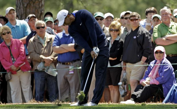 Tiger Woods hits off the first fairway during the second round the Masters.
