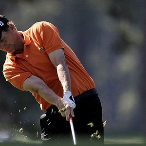 Anders Hansen, of Denmark, hits off the first fairway during the third round of the Masters.