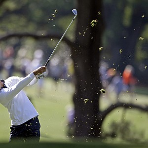 Charl Schwartzel, of South Africa, hits off the first fairway during the third round of the Masters.