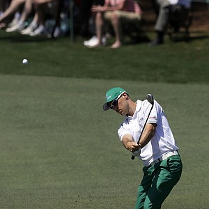 Ben Crane hits to the second green during the third round of the Masters.